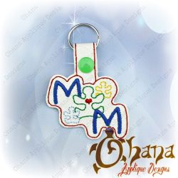 Mom Puzzle Peices Snap Tab key chain, key fob, snap tab The Hoop Designs Machine Embroidery Designs