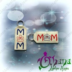 MOM Puzzle Lip Balm Holder Key Chain The Hoop Designs Machine Embroidery Designs