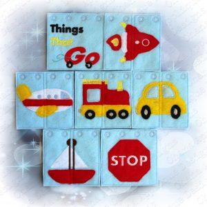 MINI (4x4 hoop) Things that GO Quiet Book
