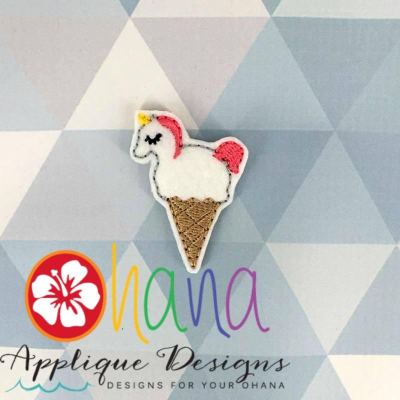 Unicorn Ice cream cone Feltie