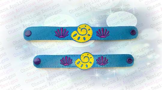 Seashell wristlet bracelet ohana applique designs