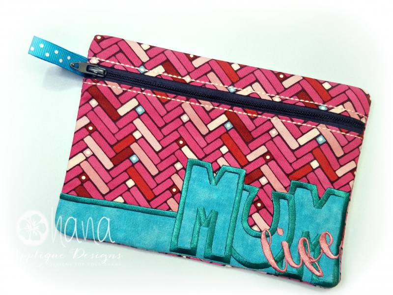 Mum life zipper bag ohana applique designs