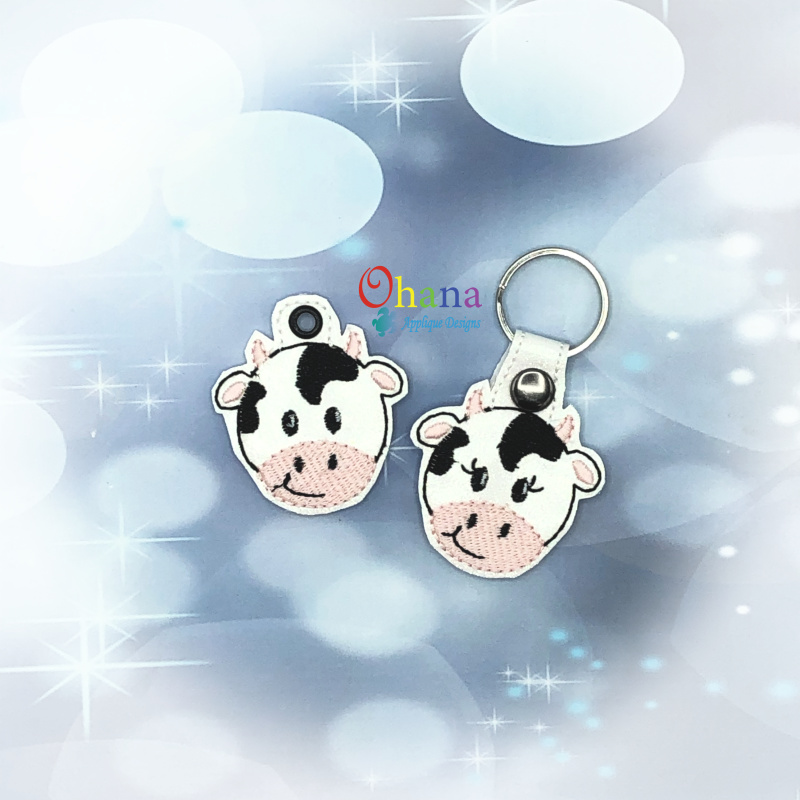 Cow.Key.Chain.Embroidery