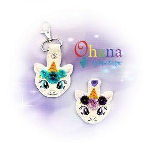 Floral Unicorn Key Chain