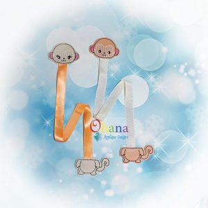 Monkey Ribbon Bookmark Embroidery