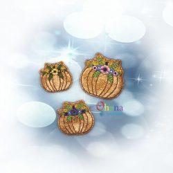 Floral Pumpkin Feltie Embroidery