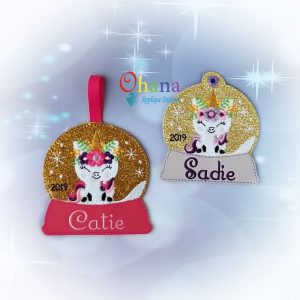 Floral Unicorn Snowglobe Ornament