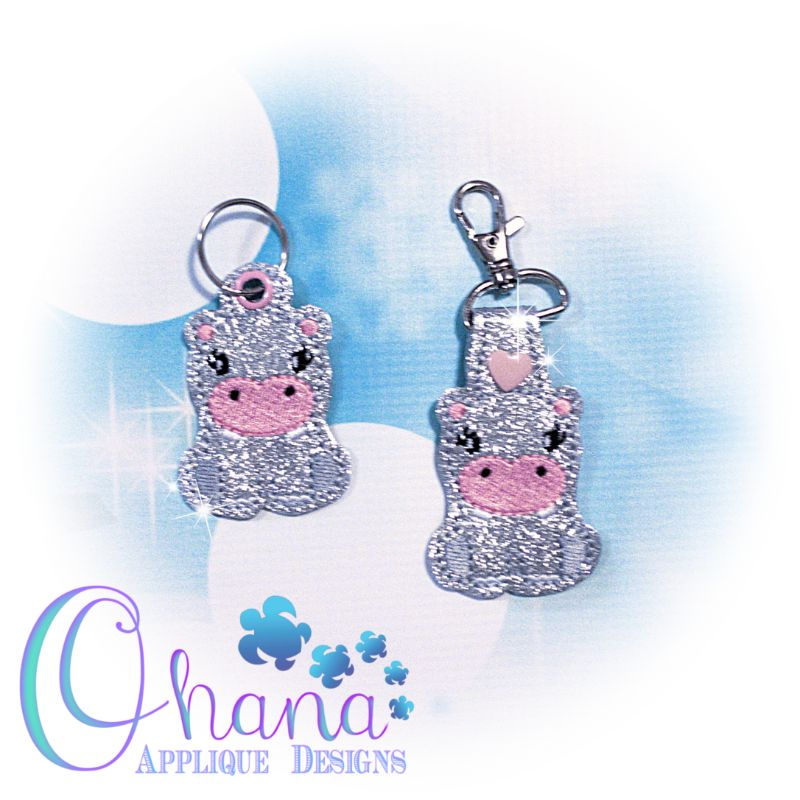 Sitting Hippo Key Chain