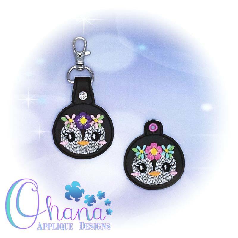 Floral Penguin Key Chain