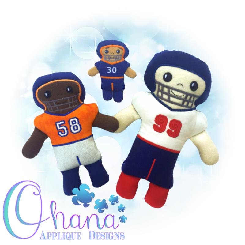 football player stuffie embroidery