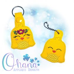 Floral Chick Key Chain