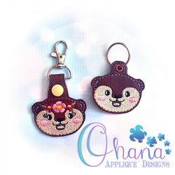 Floral otter Key Chain Embroidery