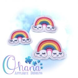 Happy Rainbow Feltie Embroidery
