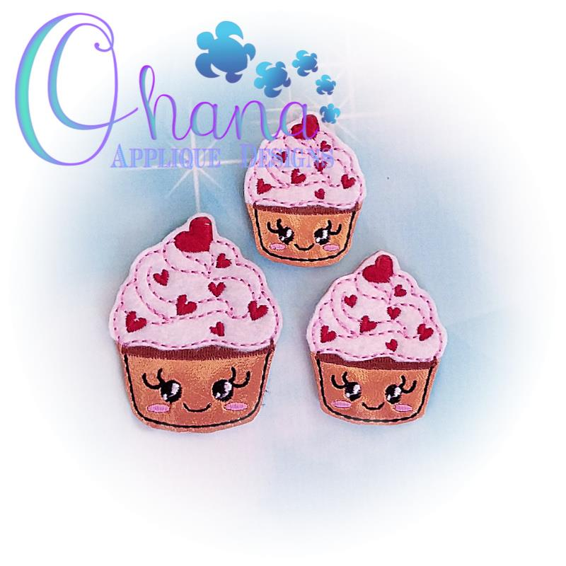 Valentine Cupcake Feltie Embroidery