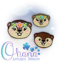 Floral Otter Feltie Embroidery