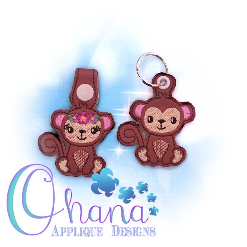 Floral Monkey Key Chain