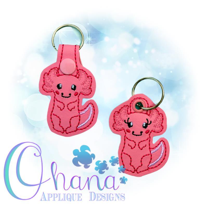 Axolotl Key Chain Embroidery