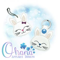 Bow Bunny Key Chain Embroidery