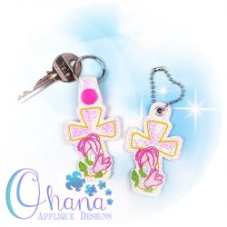 Lily Cross Key Chain Embroidery