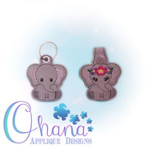 Floral Elephant Key Chain Embroidery