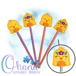 Floral Chick Pencil Topper