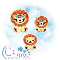 Floral Lion Feltie Embroidery