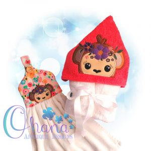 Floral Monkey Peeker Embroidery