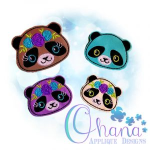 Floral Panda Feltie Embroidery