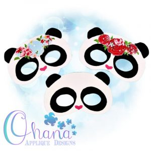 Floral Panda Pretend Mask Embroidery