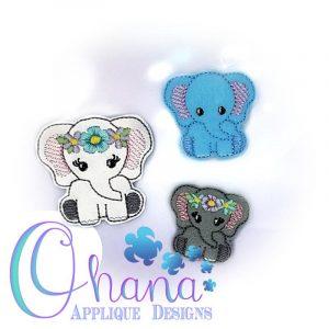 Floral Elephant Feltie Embroidery