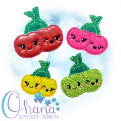 Kawaii Cherries Feltie Embroidery