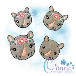 Floral Rhino Embroidery Design
