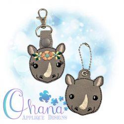 Floral Rhino Key Chain