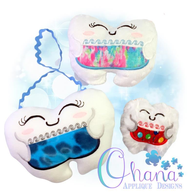 Kawaii Tooth Stuffie Embroidery