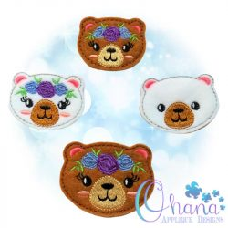 Floral Bear Feltie Embroidery