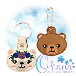 Floral Bear Key Chain