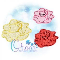 Kawaii Rose Feltie Embroidery