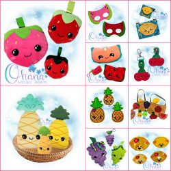 Kawaii Fruit Bundle Embroidery