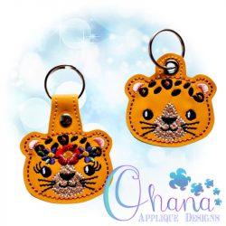 Floral Leopard Key Chain
