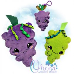 Kawaii Grapes Stuffie Embroidery