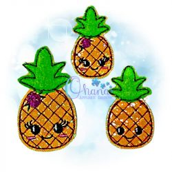 Floral Pineapple Feltie Embroidery