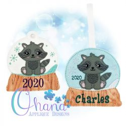 Racoon Snowglobe Ornament Embroidery