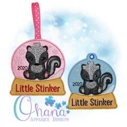 Skunk Snowglobe Ornament Embroidery
