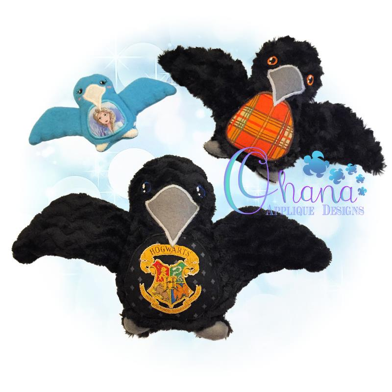 Edgar Crow Stuffie Embroidery