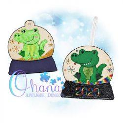 Snappy Alligator Snowglobe Ornament