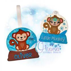 Floral Monkey Snowglobe Ornament