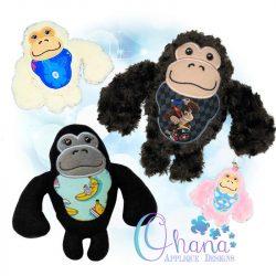 Waffles Gorilla Stuffie Embroidery