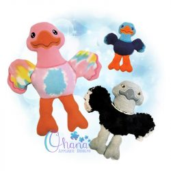 Auggie Ostrich Stuffie Embroidery