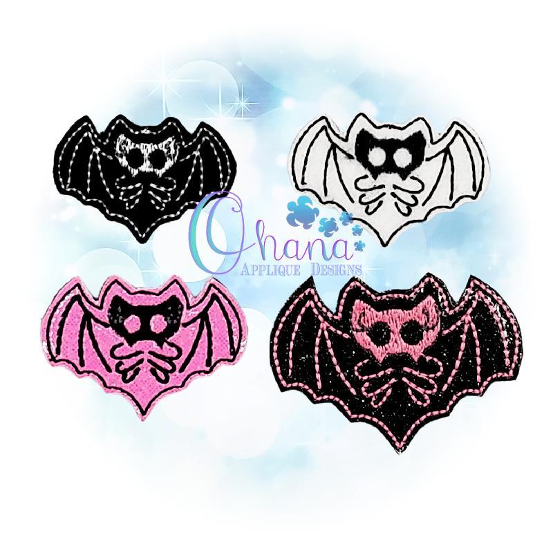 Skelly Bat Feltie Embroidery