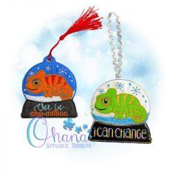 Chameleon Snowglobe Ornament Embroidery